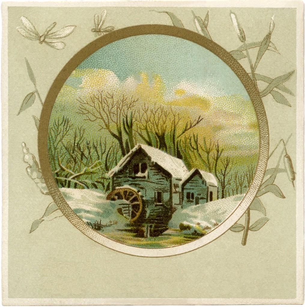 Vintage Mill Scene Image