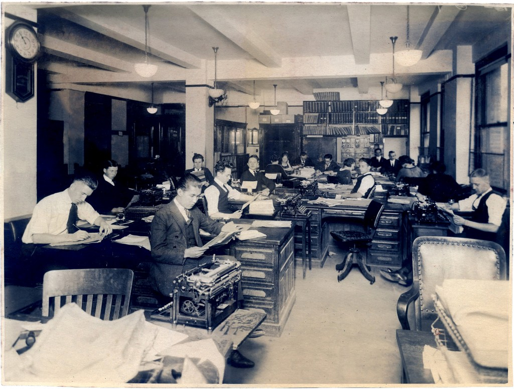 interesting vintage office photo with office workers the graphics