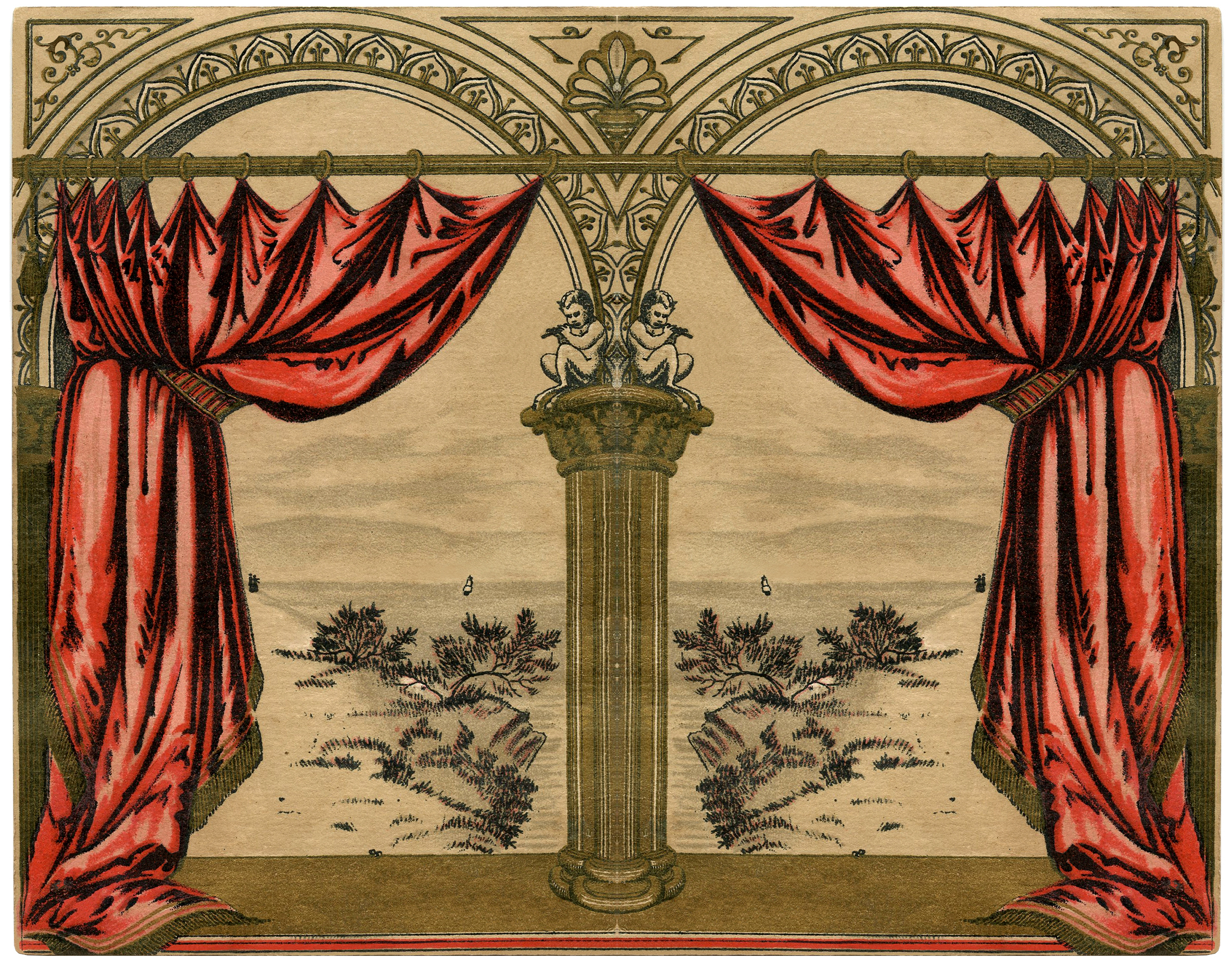 Vintage Red Drapes Image The Graphics Fairy