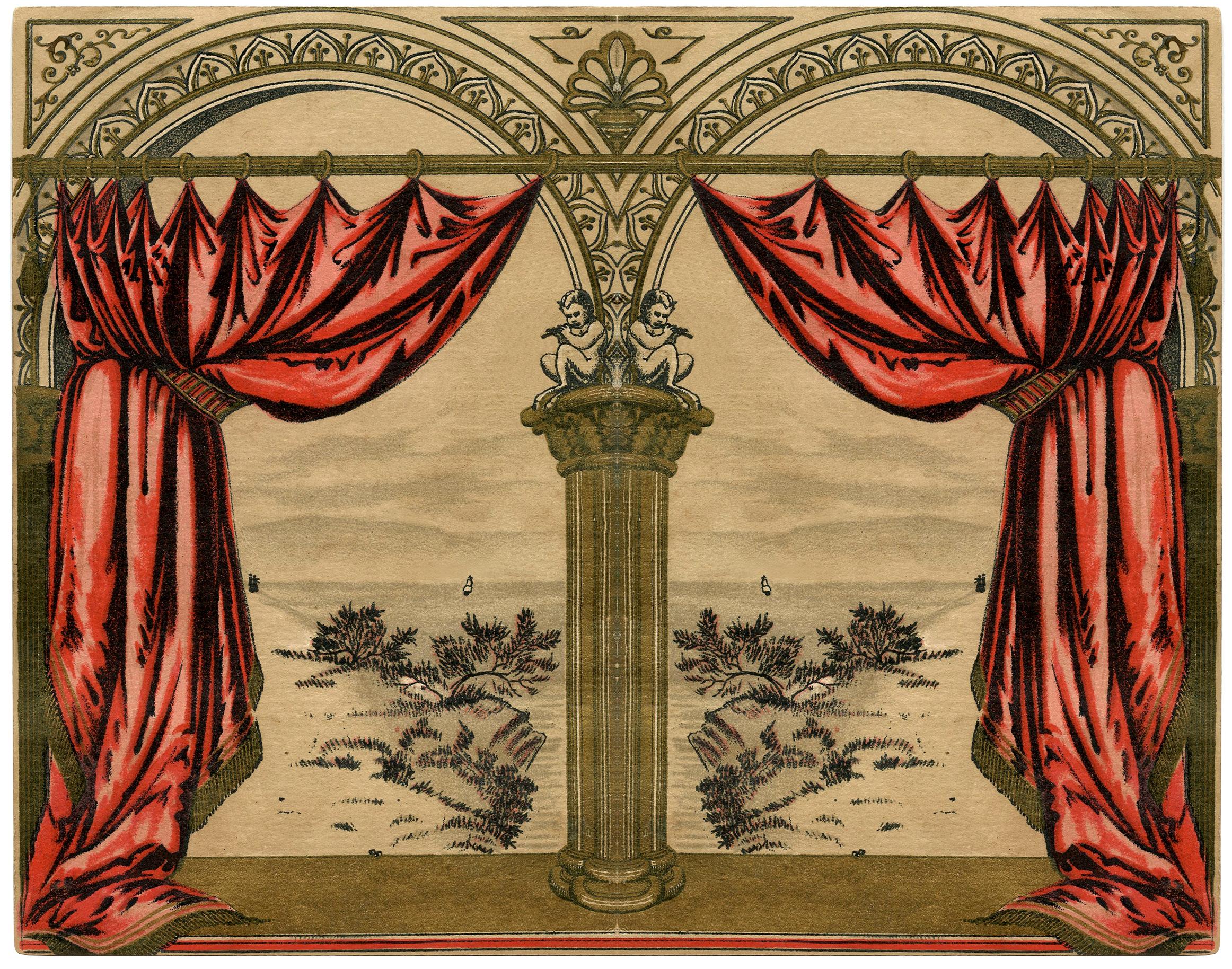 Vintage Curtains - Vintage red drapes image