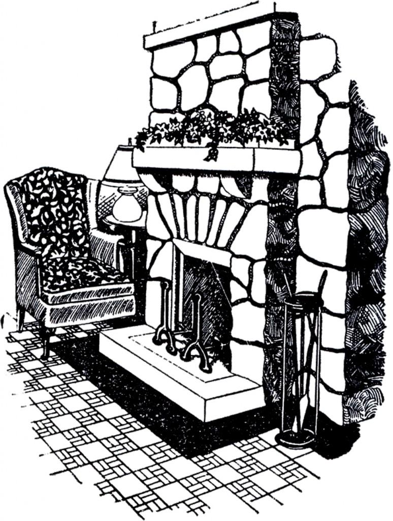Vintage Stone Fireplace Image