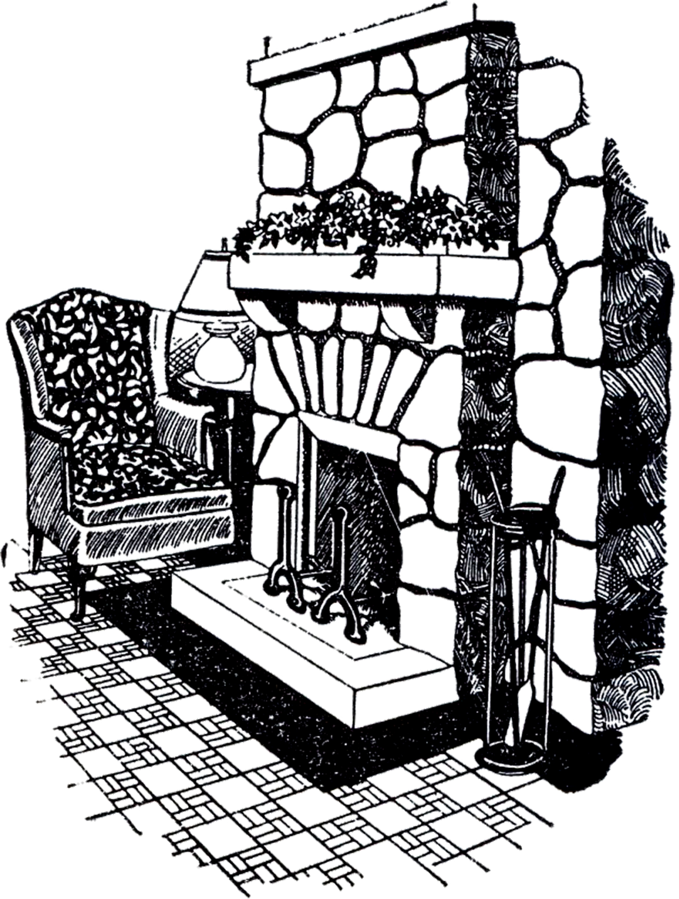 Vintage stone fireplace image the graphics fairy - Black and white fireplace ...