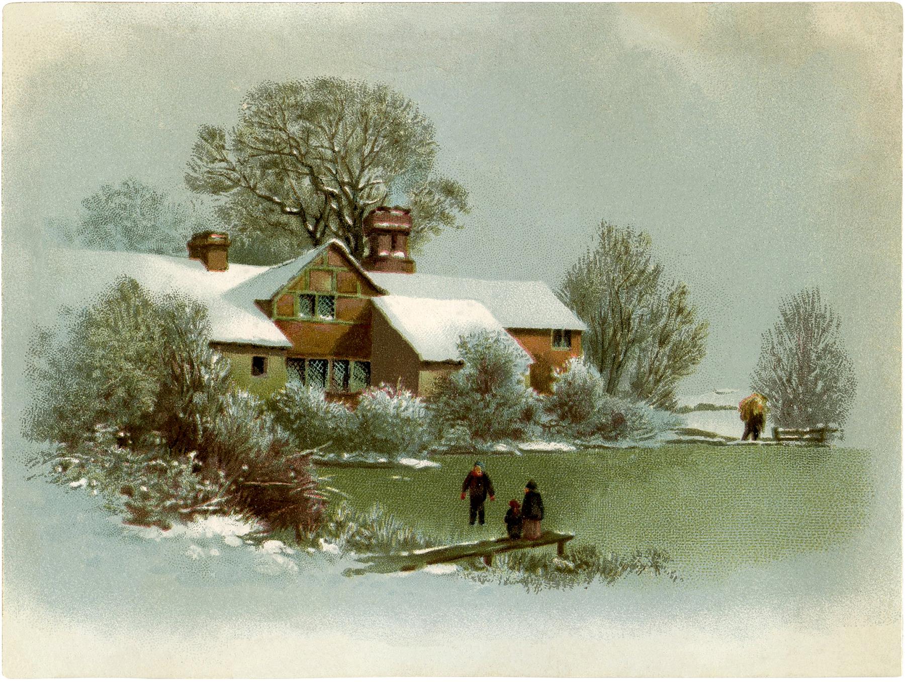 winter tudor cottage image the graphics fairy