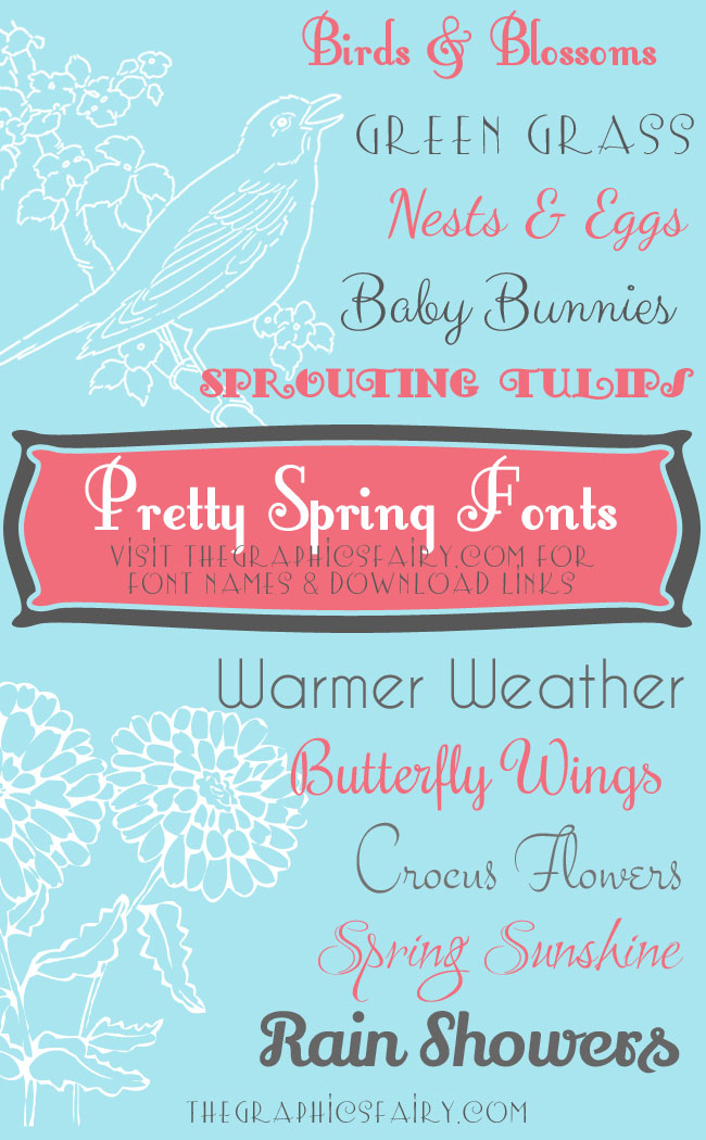Favorite Pretty Spring Fonts  //  The Graphics Fairy