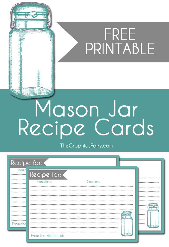 Mason Jar Recipe Card Printable  //  The Graphics Fairy