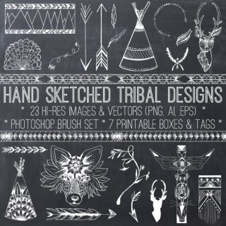 Hand Sketched Tribal Designs Kit – Graphics Fairy Premium!