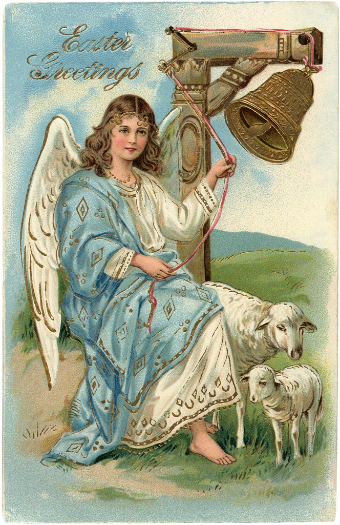 Victorian Angel Easter Postcard