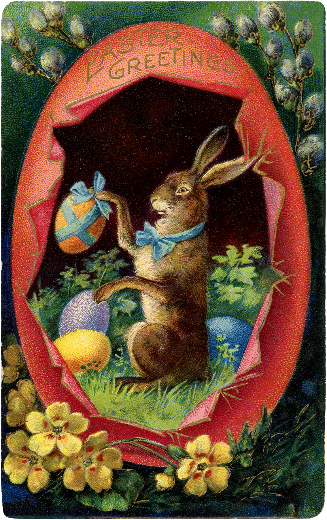 Victorian Easter Bunny with Egg Image The Graphics Fairy – Victorian Easter Cards