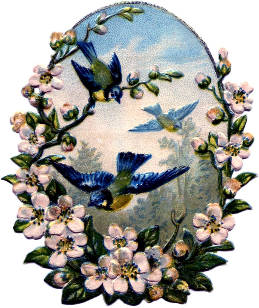 Vintage Birds with Roses Image