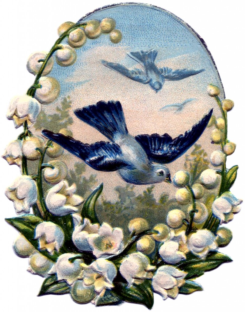 Vintage Bluebirds Scrap Image