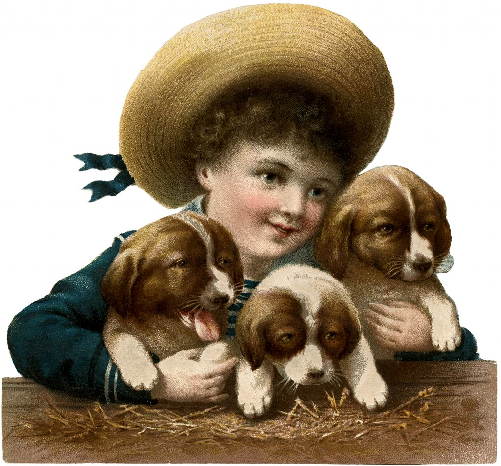 Vintage Boy with Puppies Image