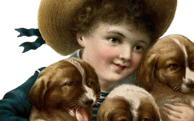Vintage Puppies Image – with Cute Boy!