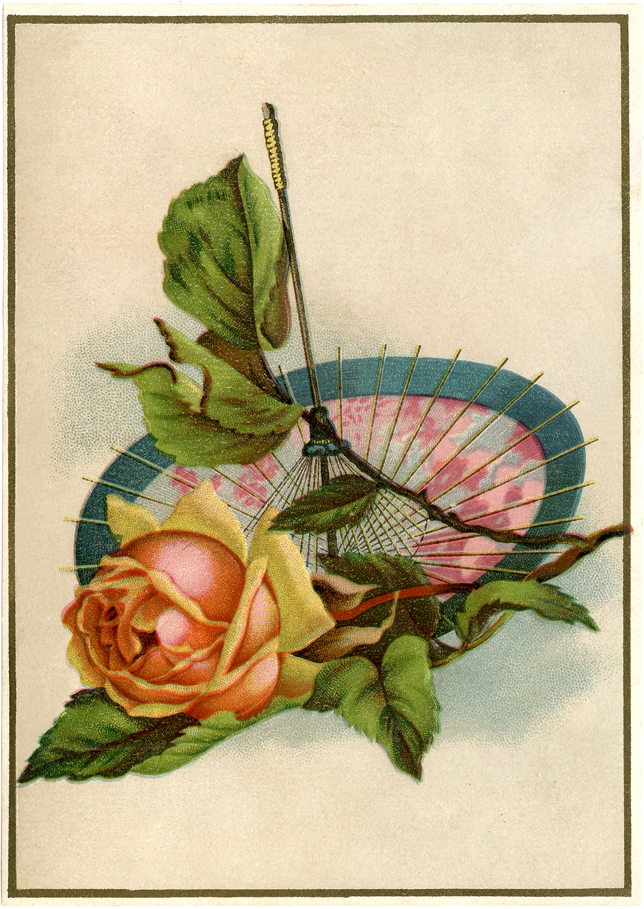 vintage rose with parasol image lovely the graphics fairy