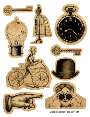 steampunk_collage_sheet_graphicsfairy