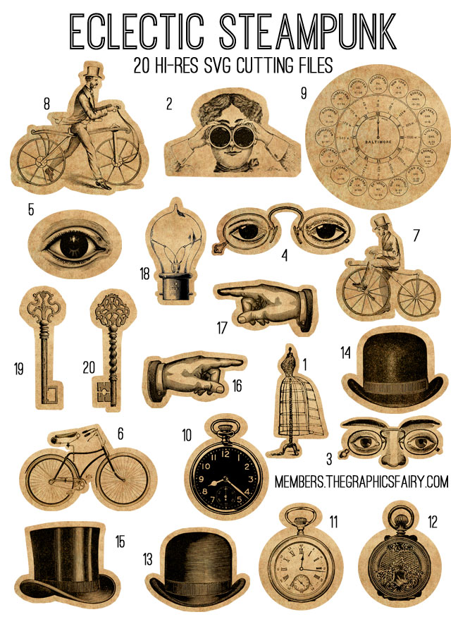 Eclectic Steampunk Svg Kit Tgf Premium The Graphics Fairy