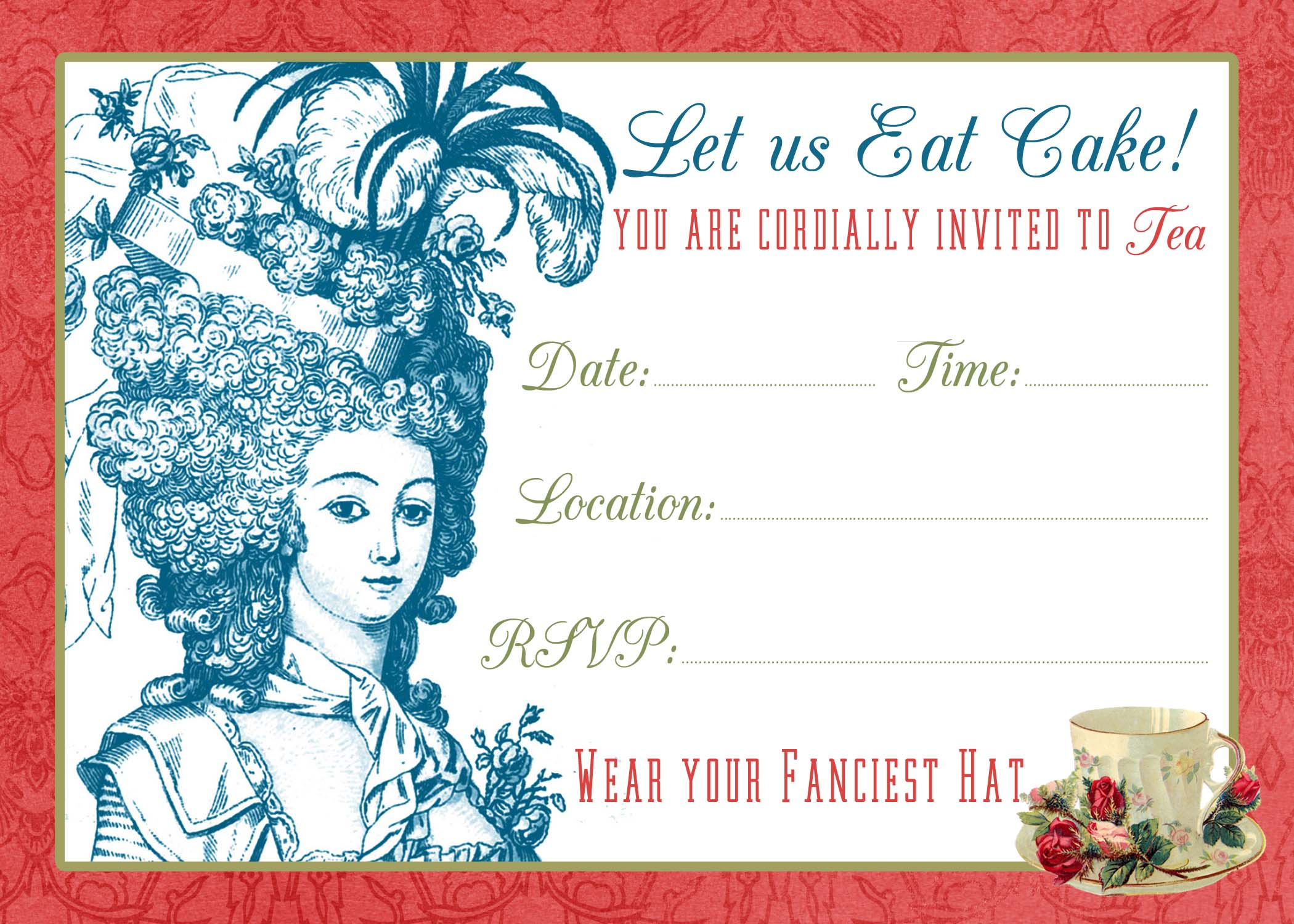 Tea Party Invite Printable Tutorial The Graphics Fairy – Tea Party Invite Template