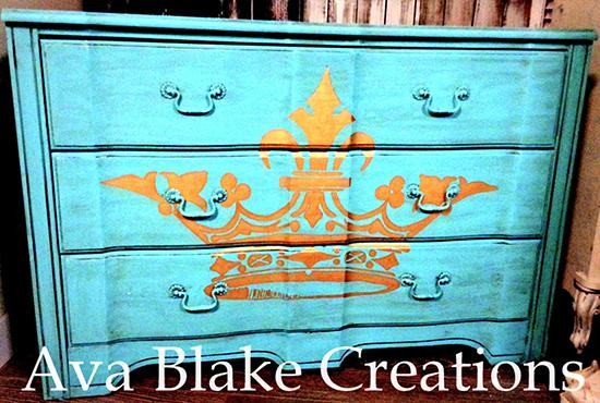 11 - Ava Blake Creations - Teal Crown Dresser