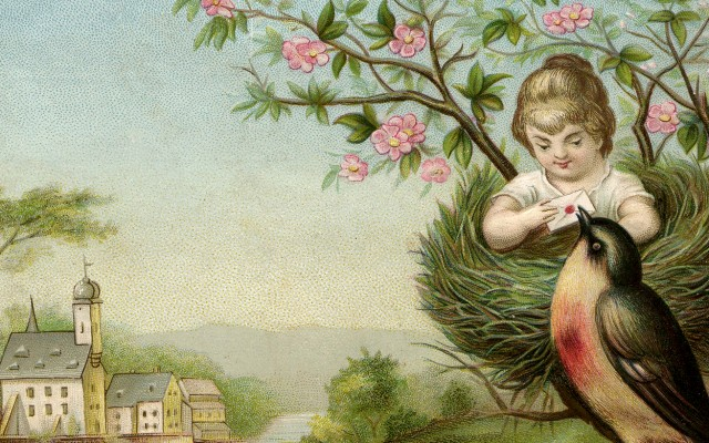 Charming Girl in Nest Image with Robin – Surreal!