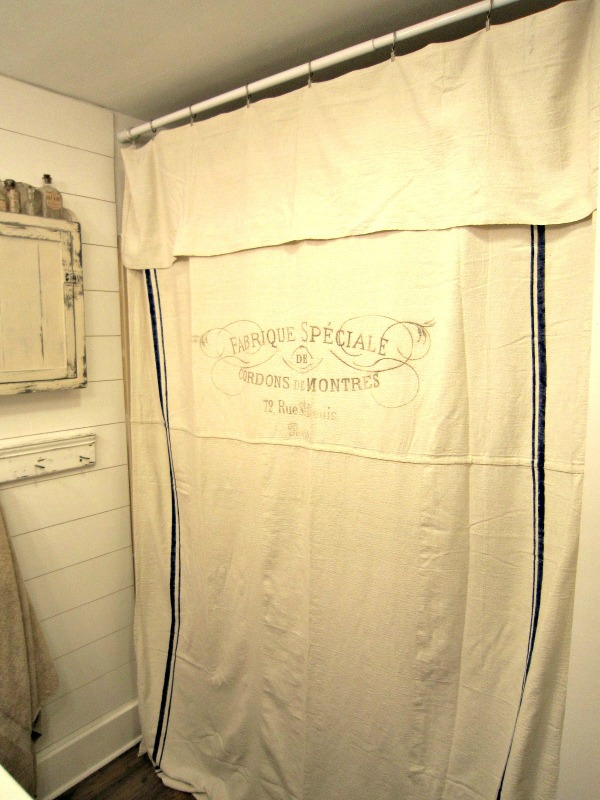 Using Drop Cloths She Turned Them Into A Shower Curtain Transferred The Popular Grain Sack And French Fabric Graphics Then Attached To