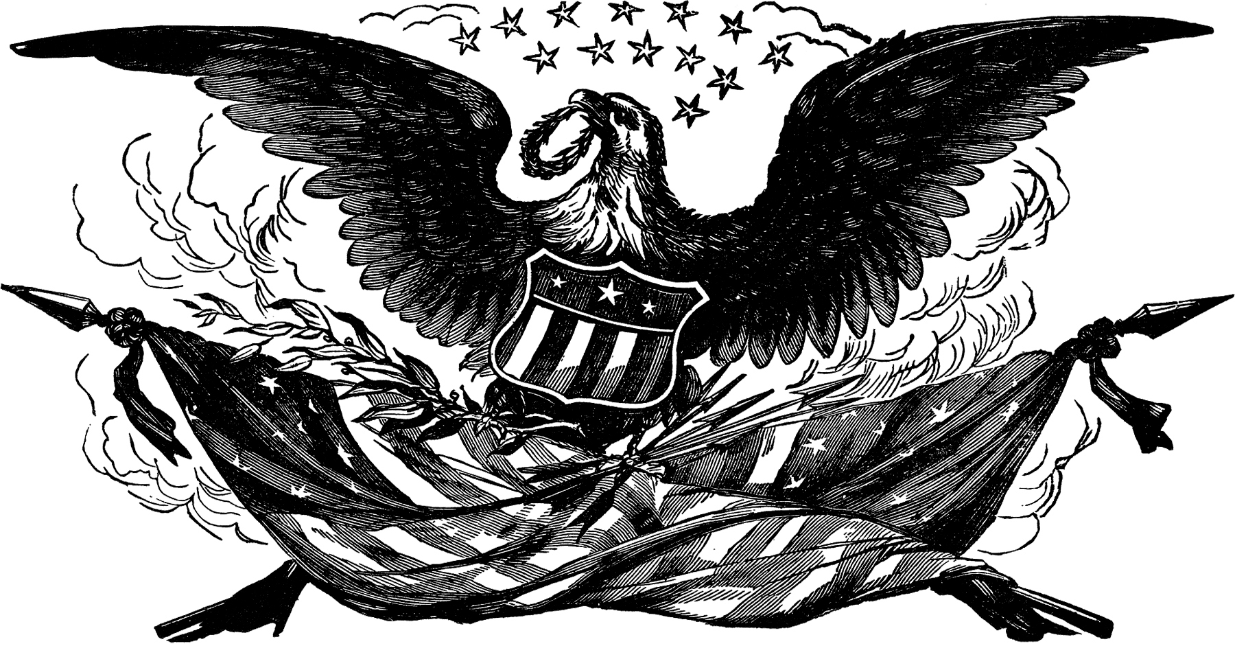 Vintage Bald Eagle Flag Image