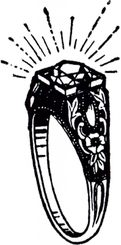 Vintage Diamond Ring Clip Art! - The Graphics Fairy
