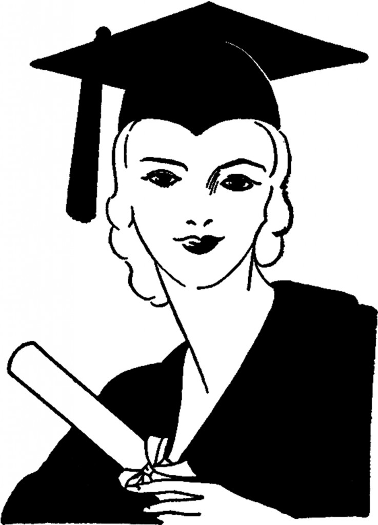 Vintage Graduation Graphics Lady Image Free