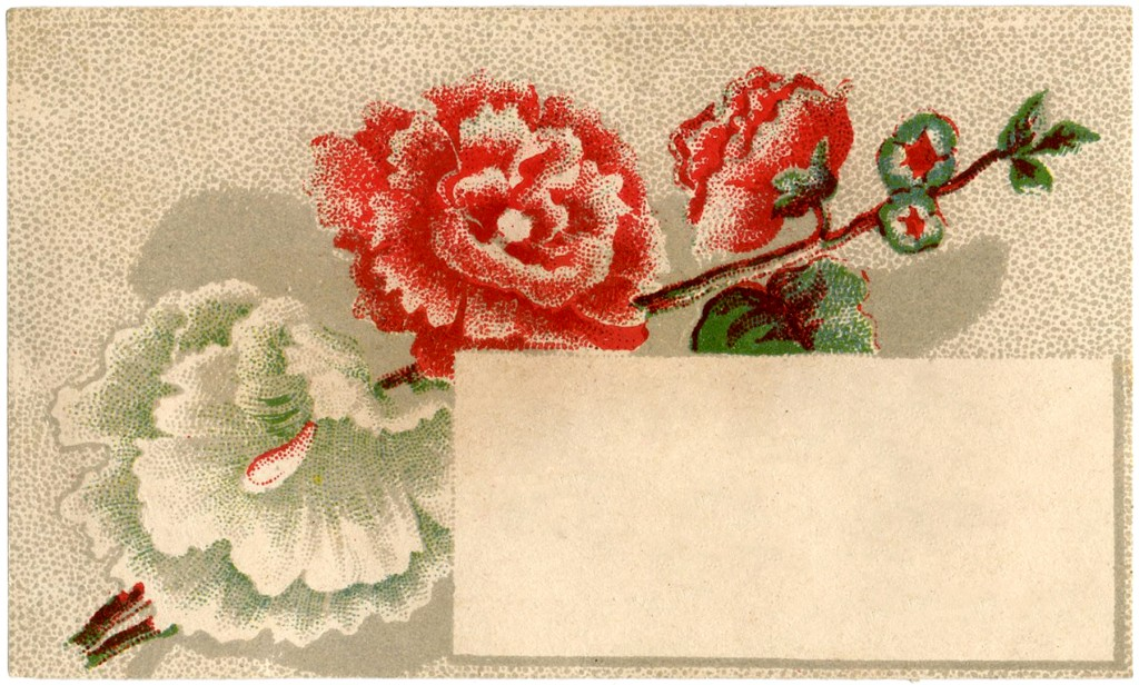 Vintage Hollyhocks Calling Card Image