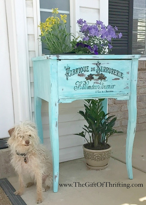 02 - The Gift of Thrifting - Hand Painted Sewing Table