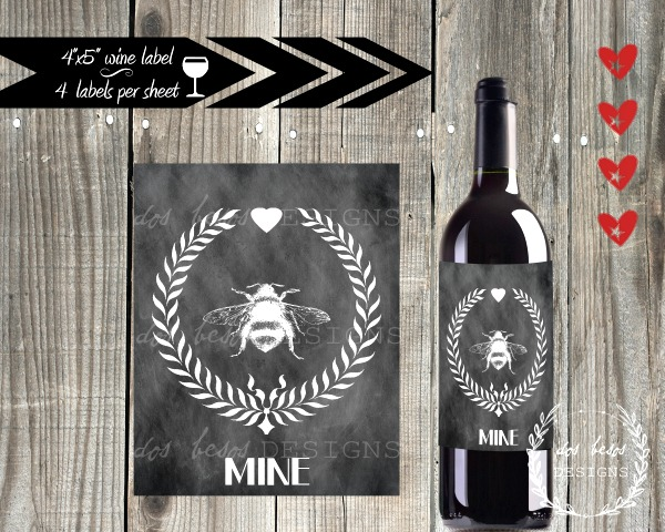 03 - Dos Beso Designs - Handmade Bee Wine Label