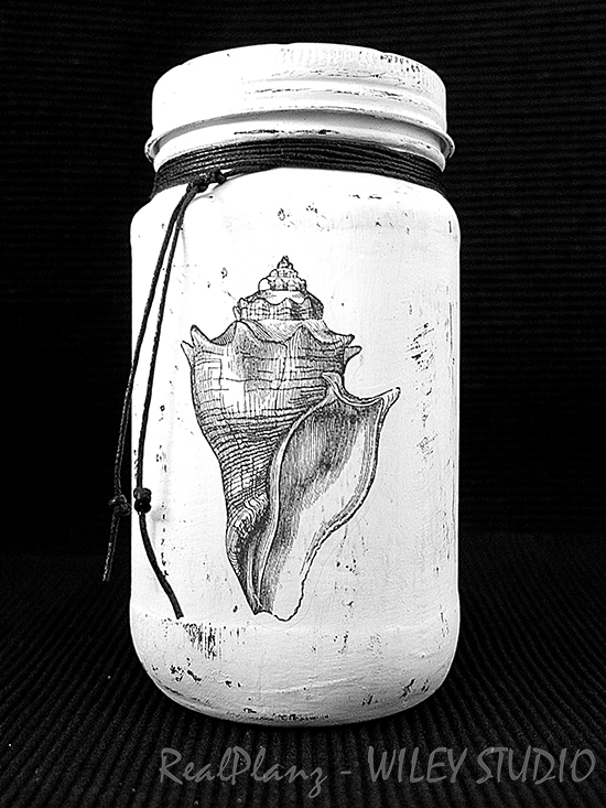 04 - Real Planz - Seashell Painted Glass Bottle