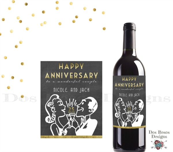 13 - Dos Beso Designs - Retro Chalkboard Wine Label
