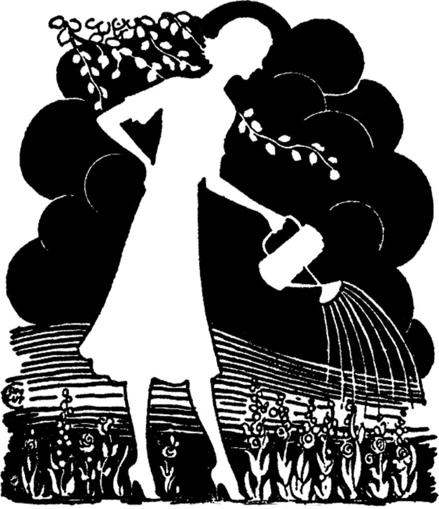 Retro Garden Lady Silhouette