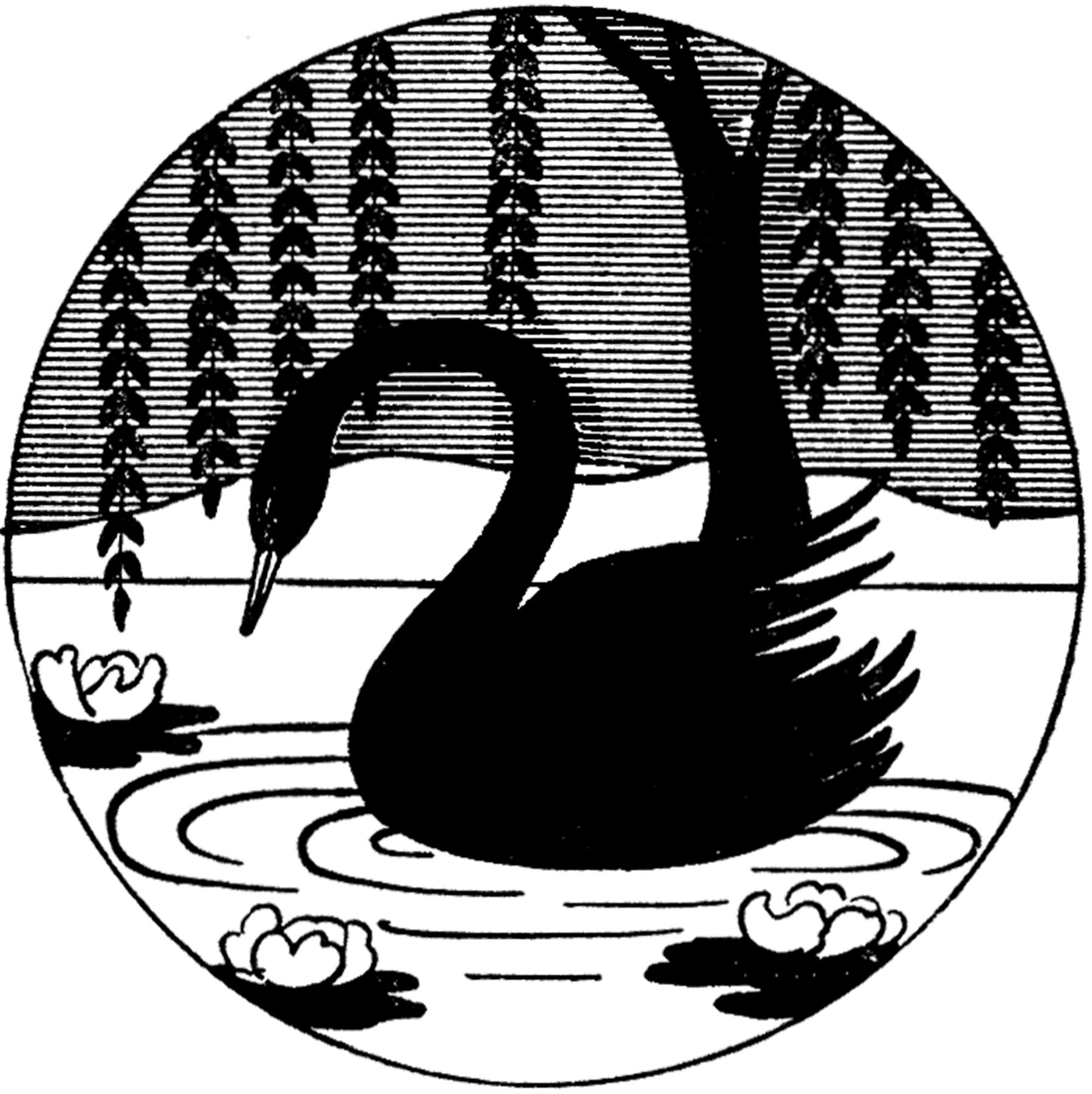 Vintage Black Swan Image Silhouette The Graphics Fairy