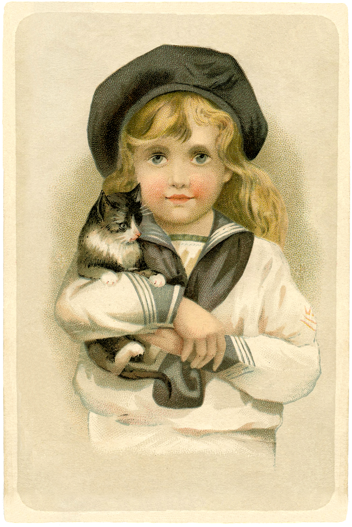 Vintage Prints Girl Holding A Cat