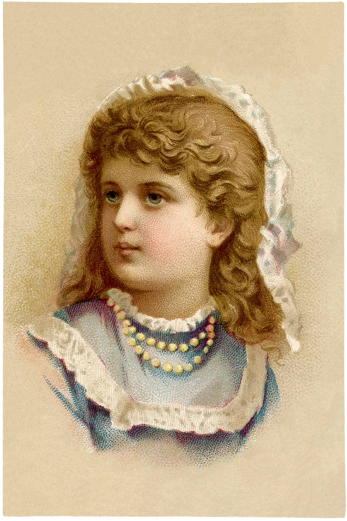 Vintage Girl with Pearls