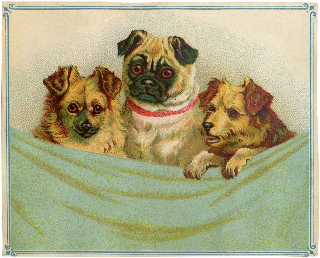 Vintage Puppies Clip Art