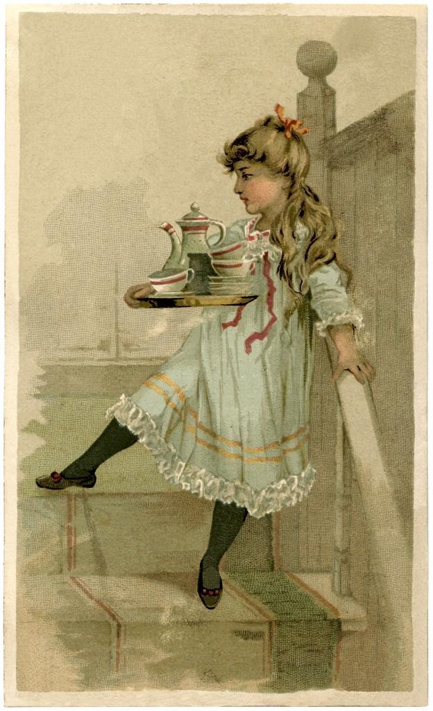 Lovely Vintage Tea Set Girl Image The Graphics Fairy