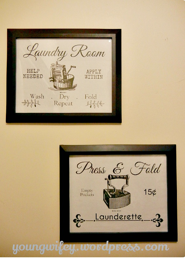 Lovely  Young Wifey Laundry Room Signs