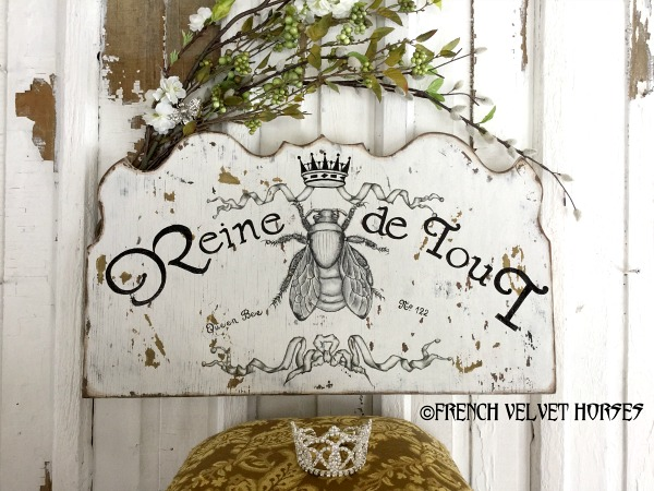Fabulous  French Velvet Horses Handmade Queen Bee Sign