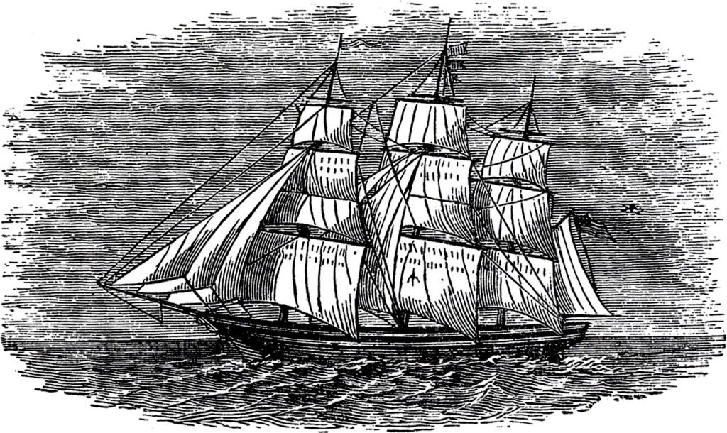 Antique Ship Engraving