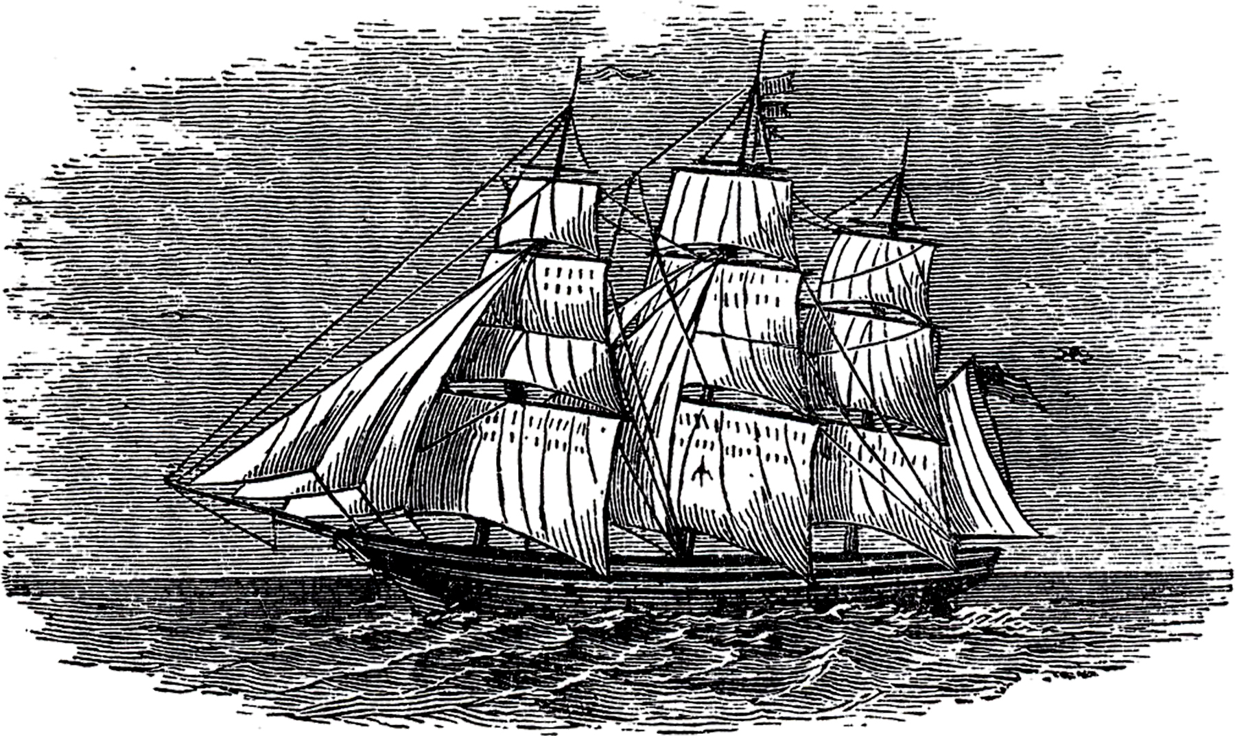 Antique Ship Engraving! - The Graphics Fairy