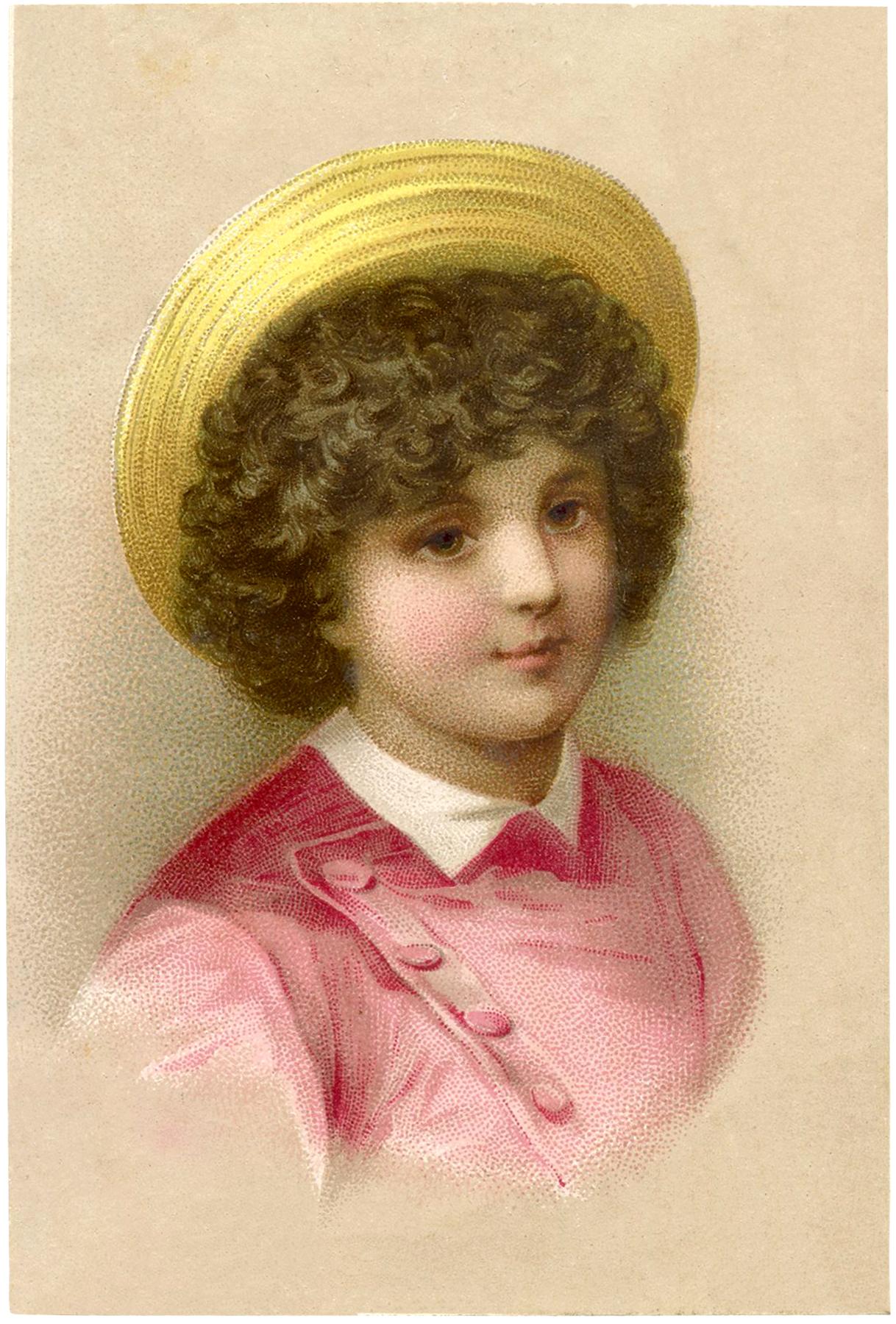 Pretty Child with Straw Hat