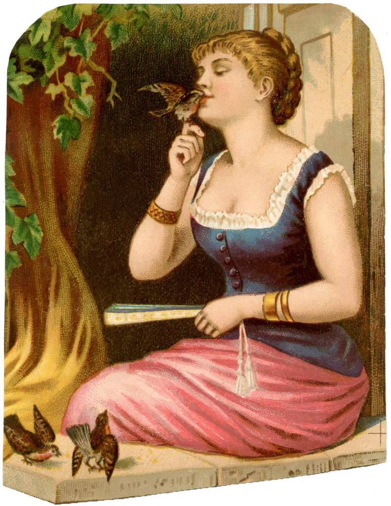Vintage Bird Lady Image