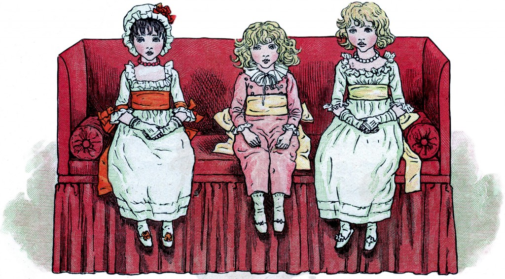 Vintage Children on Sofa Image