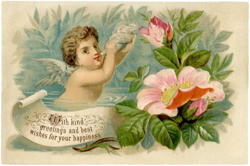 Vintage Cherub with Roses Image