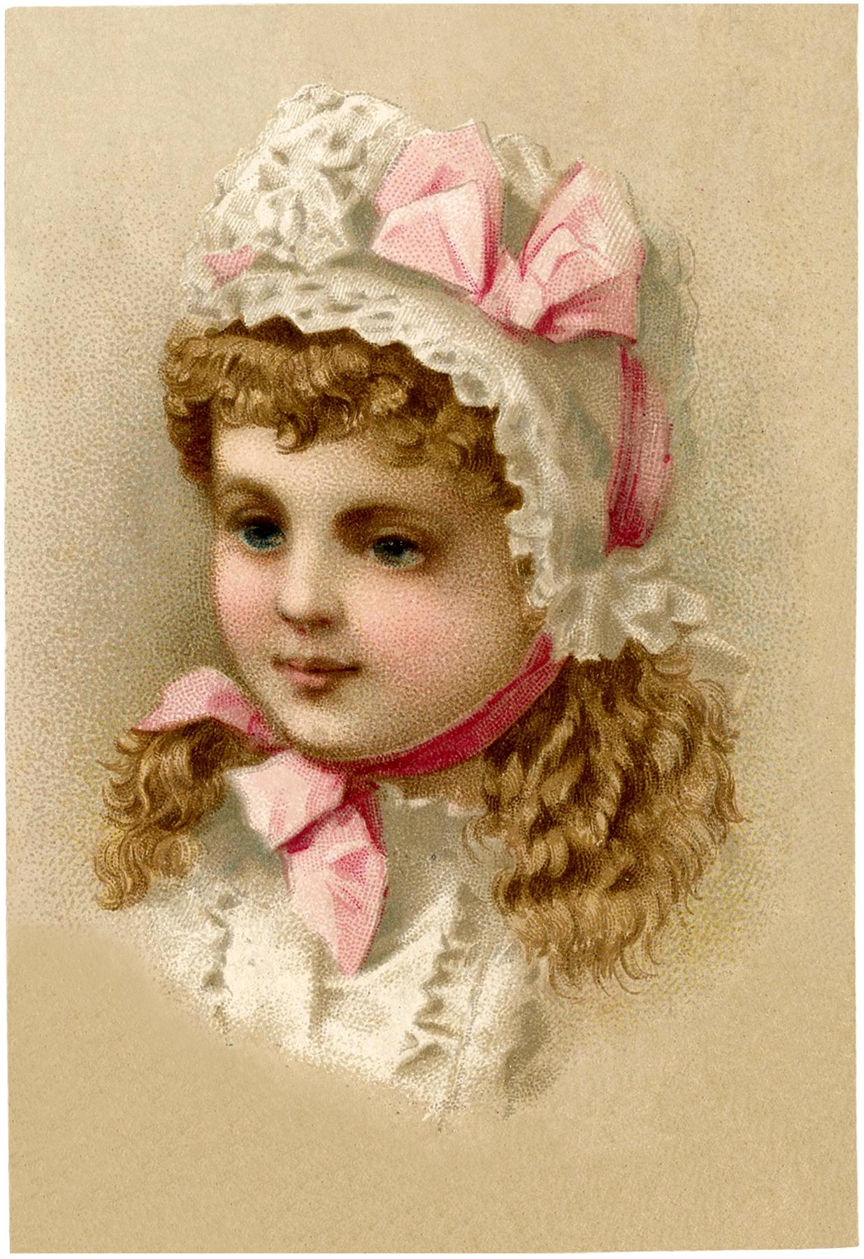 Vintage Girl with Bonnet Image