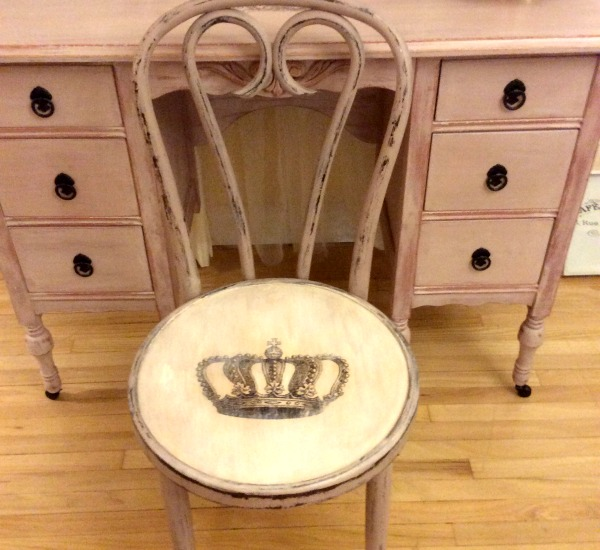 image6 - Hand Painted Antique Crown Vanity Chair - Reader Feature - The
