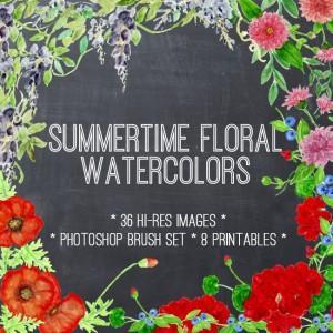 Summer Floral Watercolors Kit