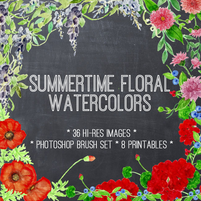 Summer Floral Watercolors Kit
