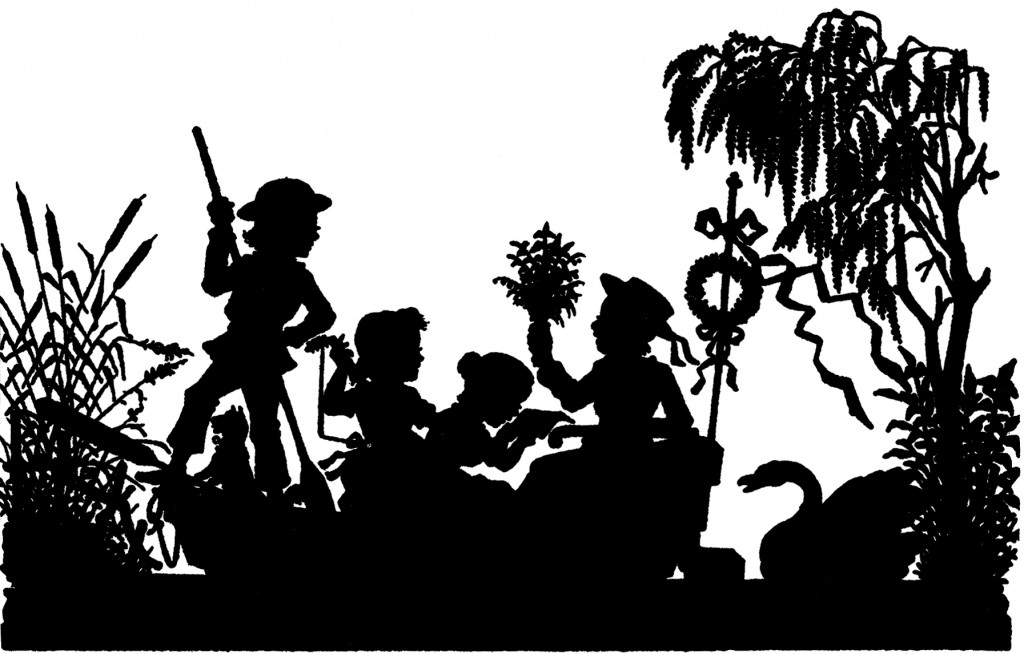 Silhouette Kids in Boat Image